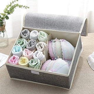 LDCP Boîte de Rangement Lavable pour sous-vêtements Art en Tissu avec Un Couvercle Chaussettes de Soutien-Gorge Chaussette...