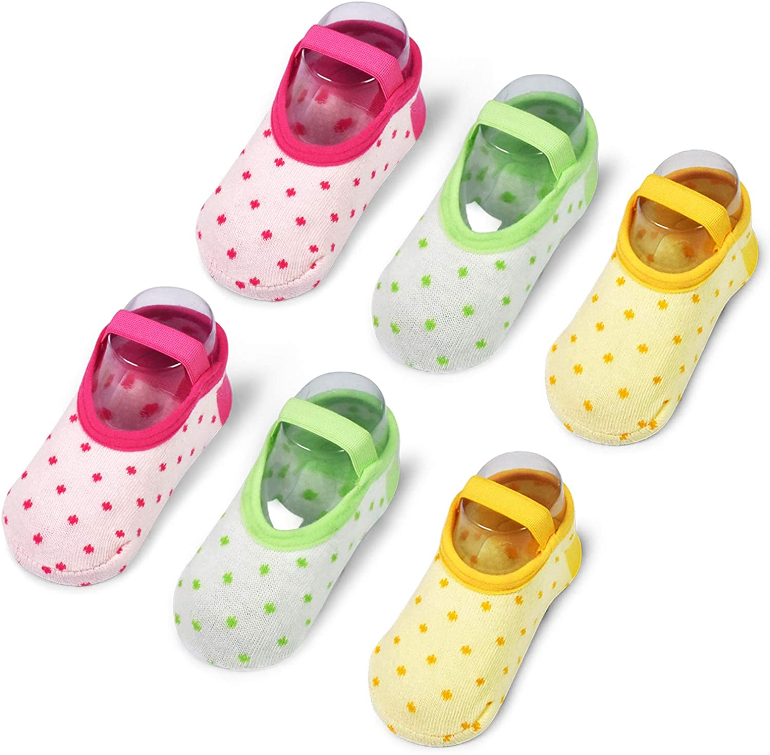 6 Pairs Toddler Girl Socks Baby Girl Gift Non Skid Ballet Socks with Strap Crew Socks for 12-30 Months 1-3 Years Old Baby