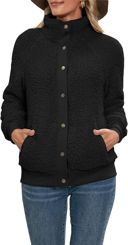 Women Faux Wool Oversized Coat OutwearLong Sleeve Button-up Shaggy Cardigan Coat Jacket with Pockets Warm Winter