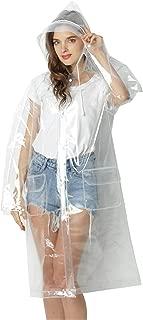 Freesmily Super Transparent Raincoat for Women Fashion EVA Waterproof Rain Poncho Reusable with Drawstring Hood