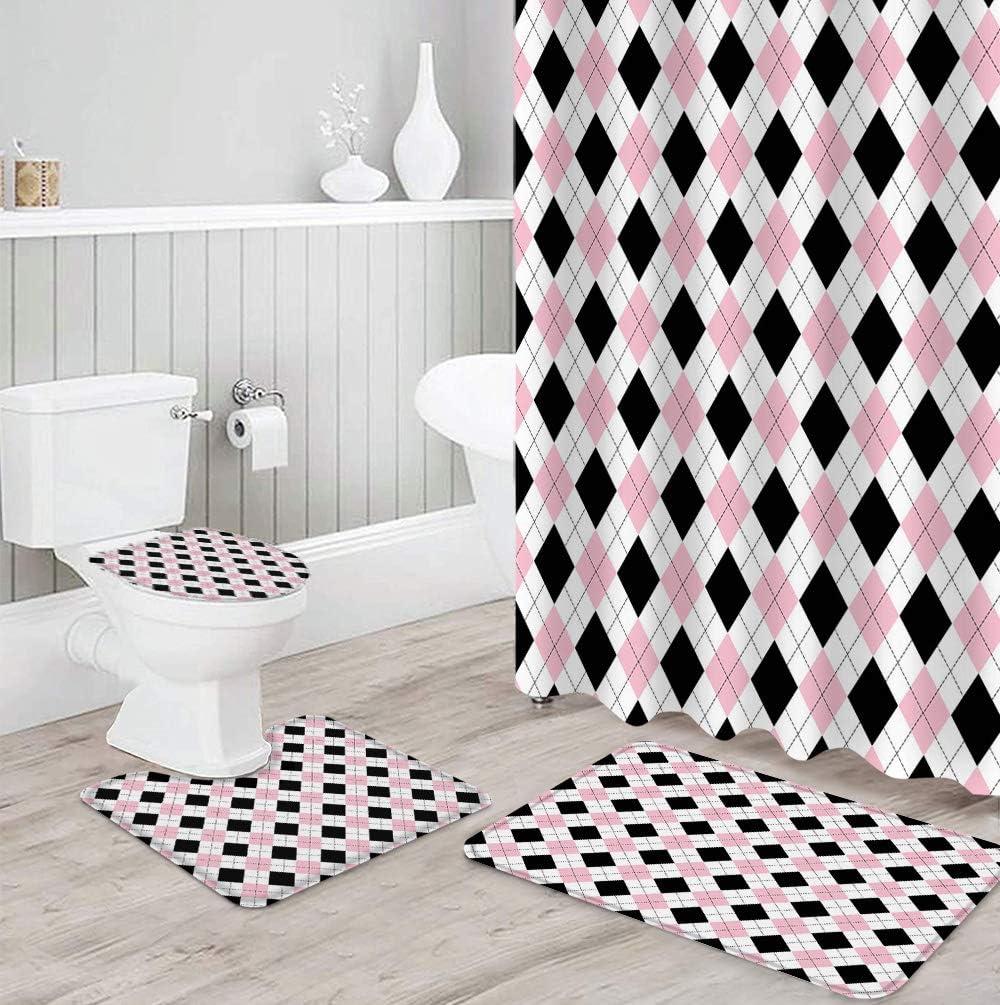 FAMILYDECOR 4 Virginia Beach Mall Memphis Mall Piece Shower Curtain Sets Toile with Non-Slip Rug