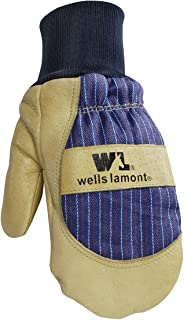 Men's Winter Mittens with Leather Palm, 100-gram Thinsulate Insulation Sewn-In Glove Liner, Medium (Wells Lamont 5135M)
