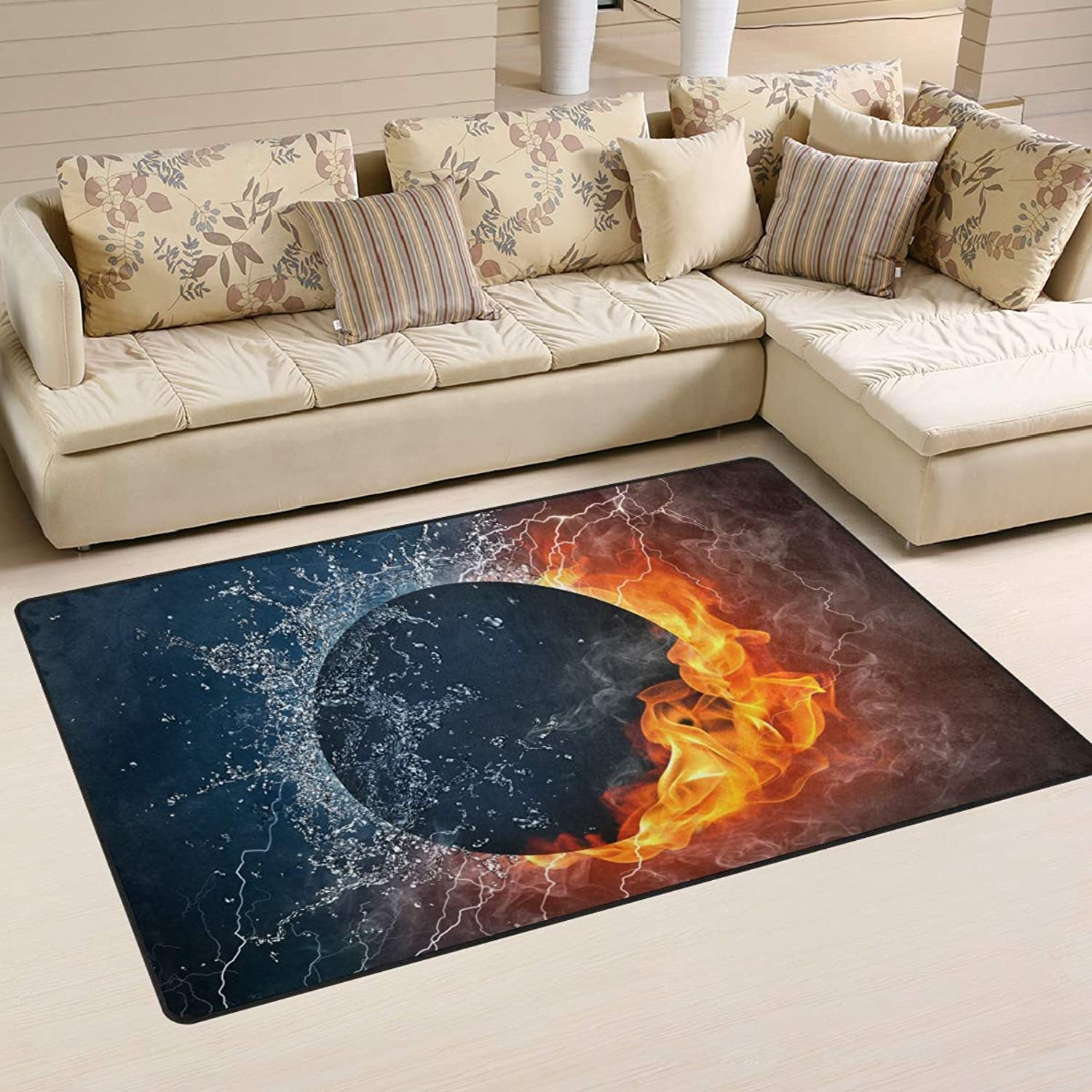 Area Rugs Doormats Abstract Moon Water Fire 5'x3'3 (60x39 Inches) Non-Slip Floor Mat Soft Carpet for Living Dining Bedroom Home