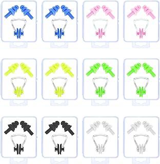 LAITER 12 pcs Pinzas de Nariz para Natación y 12 Pares Tapones de Silicona Multicolor para Los Oídos para Nadar Ducharse Surf Bañarse para Adultos y Niños