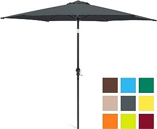 Best Choice Products 10ft Outdoor Steel Market Patio Umbrella w/Crank, Tilt Push Button, 6 Ribs - Gray