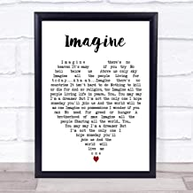 "123 BiiUYOO Imagine John Lennon Quote Song Lyric Heart Print 12"" x 10"" Inches"
