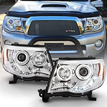 ACANII - For 2005-2011 Toyota Tacoma LED DRL Halo Ring Chrome Housing Projector Headlights Headlamps, Driver & Passenger