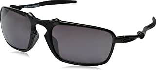 168650489 Oakley Men's Badman OO6020-06 Polarized Rectangular Sunglasses