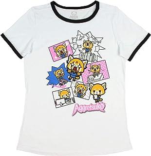 Real Deal Sales LLC Aggretsuko T-Shirt for Junior's Pop Anime Character Ringer Top Medium White