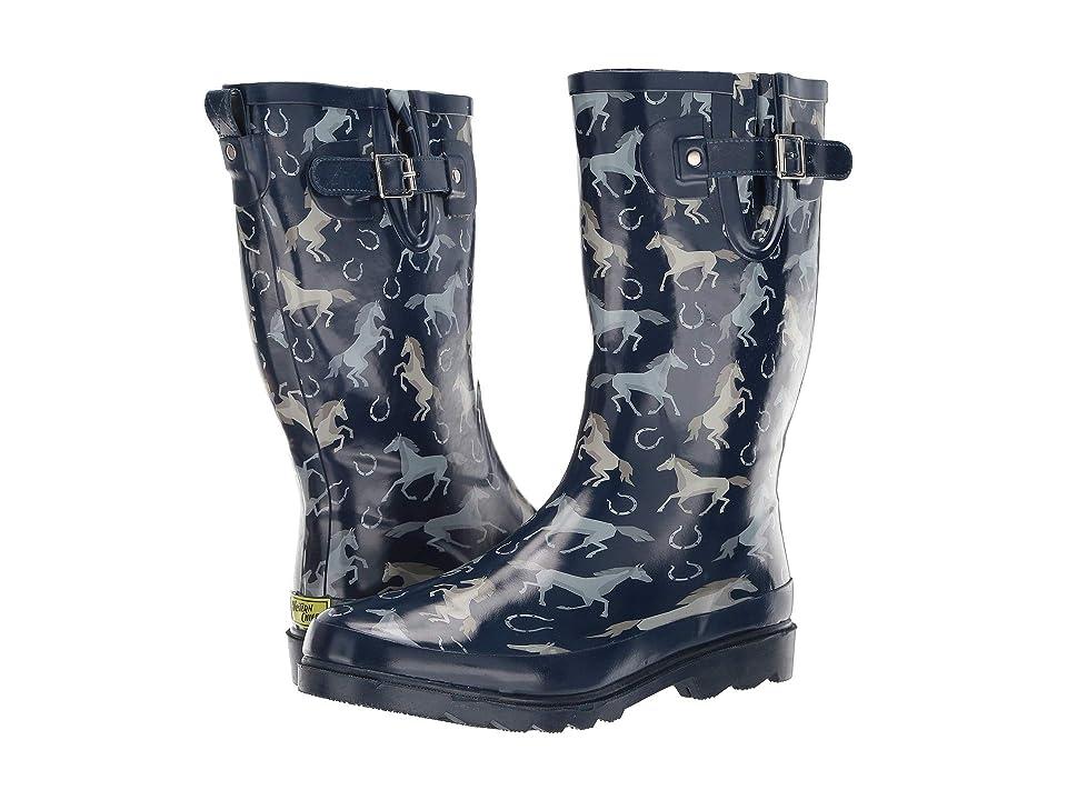 Western Chief Energetic Equines Rain Boot (Navy) Women