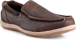 FIEEIF أحذية قارب مريحة للرجال مجنون حصان جلدية المشي في الهواء الطلق أحذية بدون كعب كلاسيكية للسفر كاجوال للرجال
