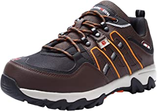 LARNMERN Steel Toe Shoes Men, Safety Indestructible Work Shoe Outdoor Slip Resistant Reflective Strip Puncture Proof Industrial Construction Shoe LM1032(7.5, Brown)