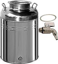 Belvivere - Bidón/Cubo para Aceite 50 litros, acero inoxidable 18/10 - Fabricado en Italia - INCLUYE grifo y tapa de junta
