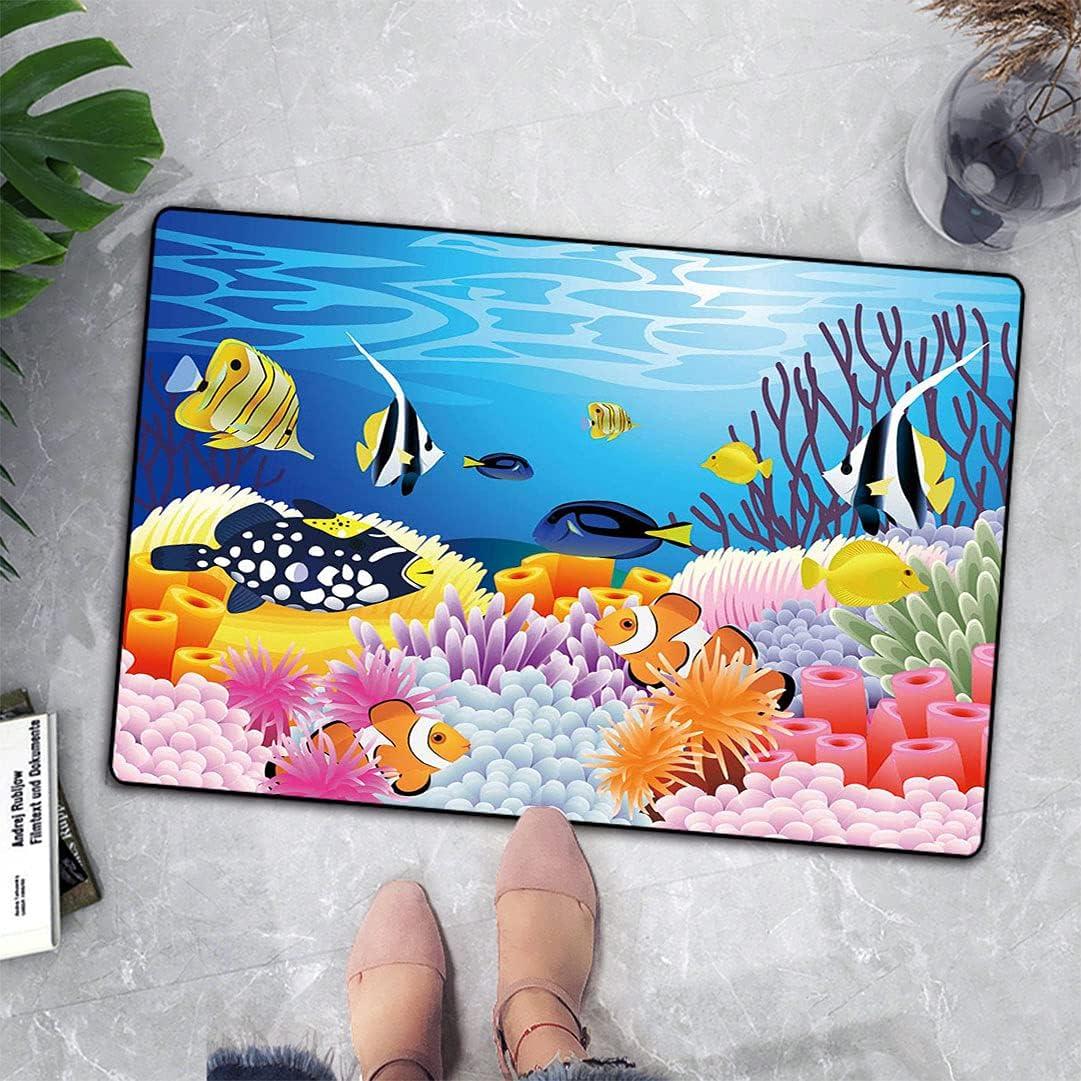 Ocean Door Mat Modern Cartoon Deep Navy Nautical Sea Limited price sale Aquarium Regular dealer Fi