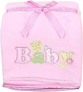 SpaSilk Baby-Girls Newborn Push 2-Ply Extra Thick Plush Blanket, Pink
