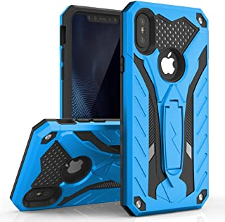 Zizo Static Series Compatible with iPhone X case with Kickstand Military Grade Drop Tested Impact Resistant Heavy Duty Case iPhone Xs Blue Black