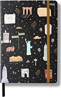 Minimalism Art, City Notebook Journal, Medium A5 5.8 x8.3 inches, Dotted, Hard Cover Linen Fabric, 234NumberedPages, GussetedPocket, Ribbon Bookmark, Ink-ProofPaper120gsm (Black/Gold)