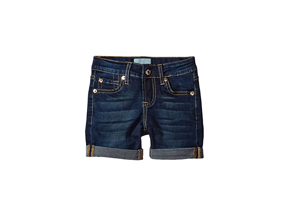 Image of 7 For All Mankind Kids 4 Roll Cuff Shorts B (Air) in Tried and True (Little Kids) (Tried and True) Girl's Shorts