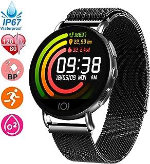 HR Monitor Watch & Fitness Tracker for Women Men Blood Pressure Oxygen Monitor Health Exercise Watch, IP67 Waterproof Activity Tracker, GPS Pedometer Calorie Counter Smart Watch School Supplies