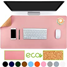 Aothia Eco-Friendly Natural Cork & Leather Double-Sided Office Desk Mat 31.5
