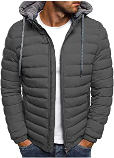 Howely Men Solid Color Parka Puffer Coat Winter Coat Quilted Jacket