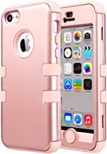 ULAK iPhone 5C Case,5C Case, Hybrid Shock-Absorption Anti-Scratch Case Soft Silicone Rubber Hard Plastic Protective Cover for Apple iPhone 5C, Rose Gold