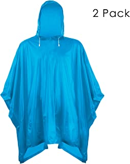 Helonge Multipurpose Rain Poncho (2 Pack) One Size Fits All, Waterproof Raincoat with Hoods for Outdoor, Camping, Theme Park and Emergency (4 Colors)