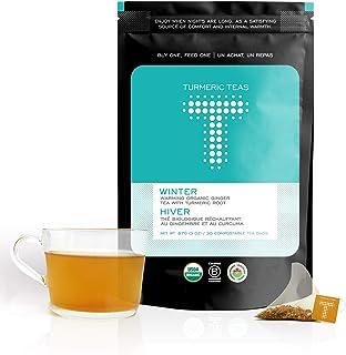 Turmeric Teas WINTER - Warming Organic Turmeric Ginger Tea, 30 Compostable Pyramid Tea Bags of Anti-inflammatory, Immunity...