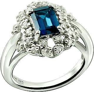 RB Gems Sterling Silver 925 Ring Genuine Gemstone Octagon 7x5 mm, Rhodium-Plated Finish, Victorian Design