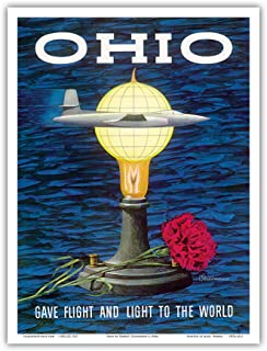 Ohio USA - Gave Flight and Light to The World - Birthplace of Thomas Edison, Wright Brothers - Vintage Travel Poster by Ro...