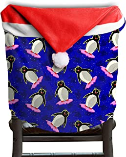 Will Budxegl Penguin Animal Christmas Beach Black Blue Christmas Xmas Themed Dinning Seat Chair Cap Hat Covers Ornaments for Backers Slipcovers Wraps Coverings Decorations Protector Set Party