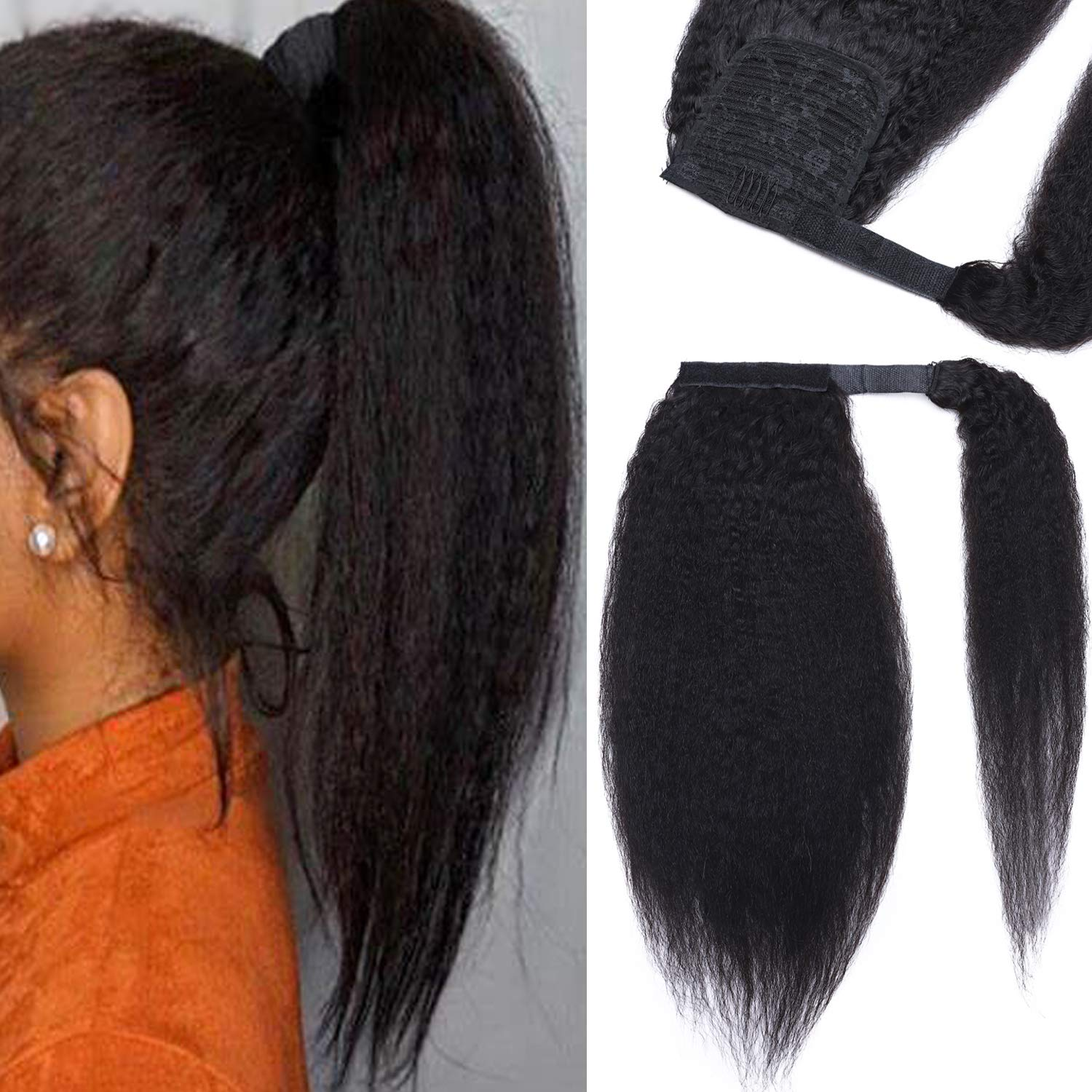 Special sale item S-noilite Ponytail Discount mail order Extension Human Hair Wrap in Clip Around Yaki