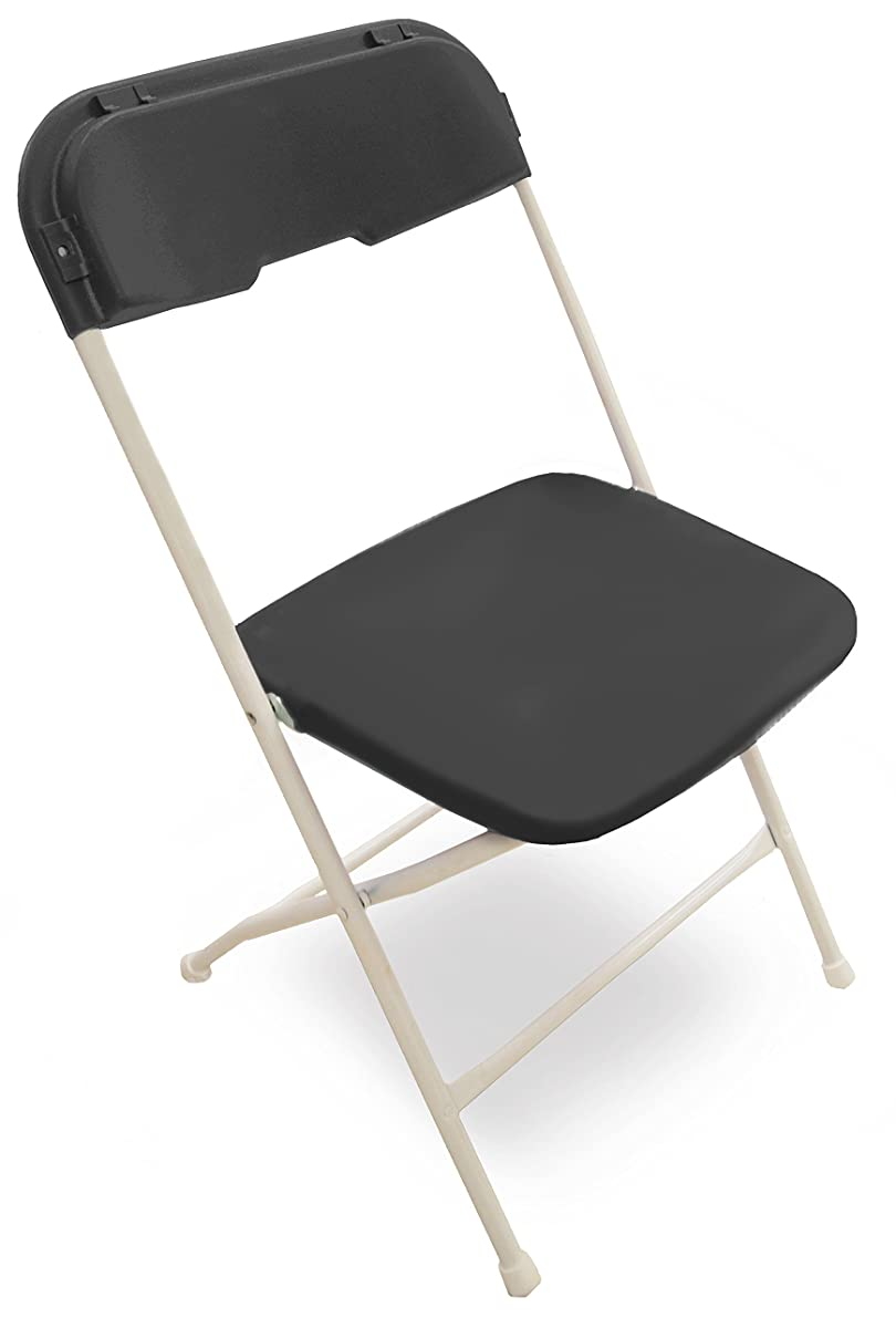 McCourt 41020-10 Series 5 Dining Height Stackable Folding Chair, Classic White Frame, Black Seat/Back (Pack of 10)