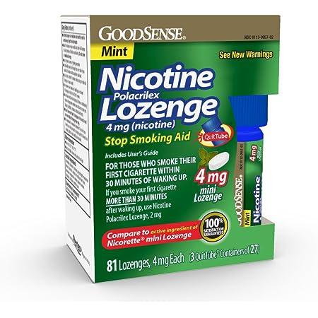 GoodSense Mini Nicotine Polacrilex Lozenge, 4 mg (nicotine), Stop Smoking Aid, Mint Flavor; quit smoking with mint nicotine lozenge, 81 Coun