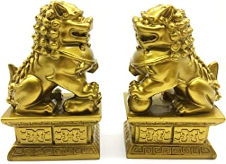 better us Feng Shui Decor Beijing Lions Cultural Statue Pair of Fu Foo Dogs Guardian Lion Statues Best Housewarming Congratulatory Gift to Ward Off Evil Energy (Color 2)