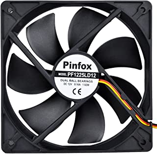 Pinfox 12V DC 120mm Quiet Cooling Fan Silent, Variable Speed Control by 5V to 12V Input, Dual Ball Bearings 3 Pin for PC Computer Case, Home Theater Cabinet, Receiver DVR Xbox, Incubator