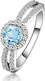 925 Sterling Silver Ring Flowers Ring Engagement Women Ring Wedding with Blue Topaz