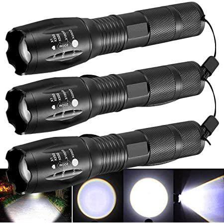 10PCS Tactical High Lumens XML-T6 5Modes LED Flashlight Aluminum Zoomable Torch