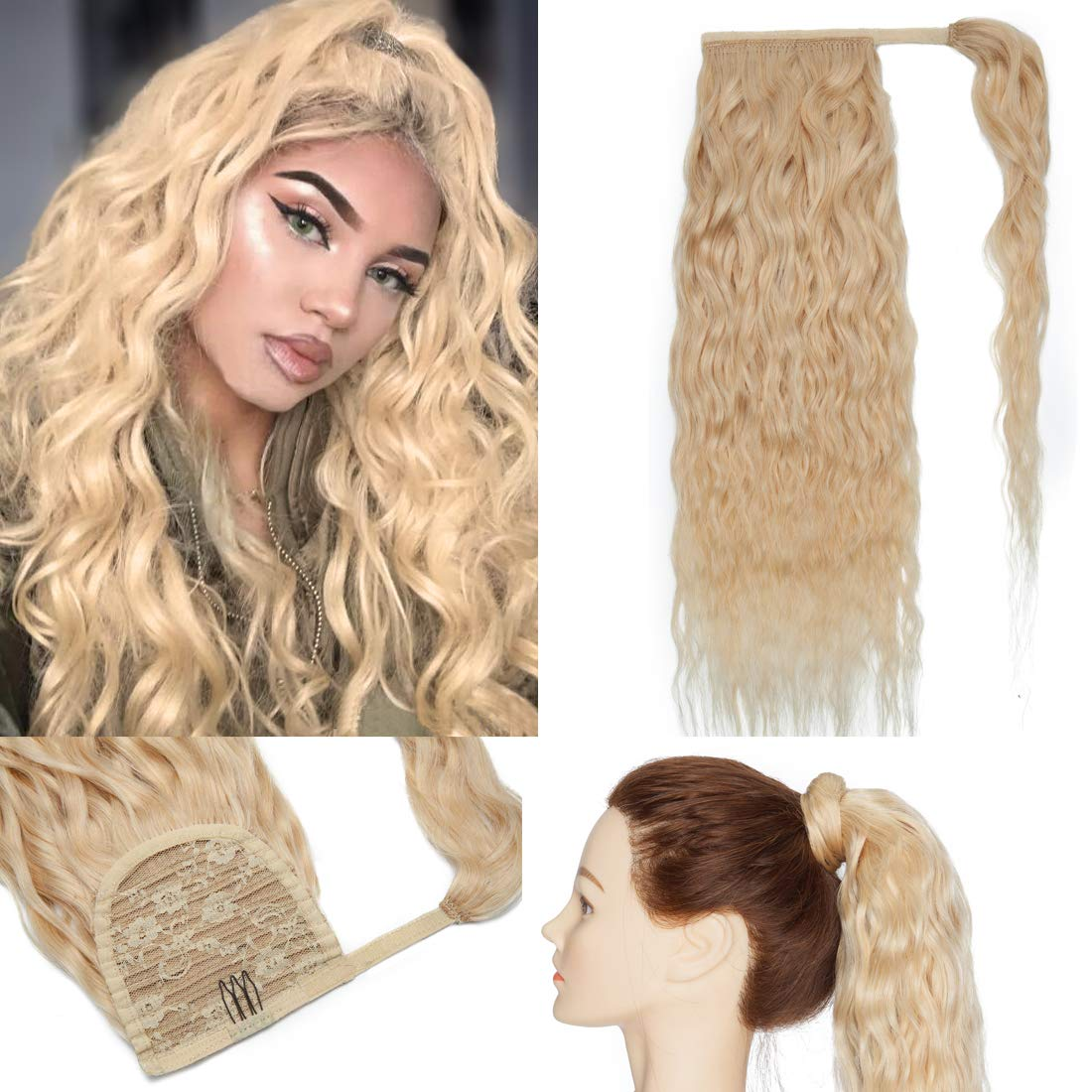 S-noilite Ponytail Extension 2021new shipping free Clip in Max 75% OFF Human A Corn Hair Wavy Wrap