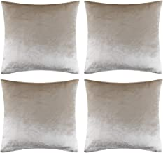GIGIZAZA Luxury Shinny Velvet Silver Grey Decorative Throw Pillow Cushion Cover, Velvet, Champing, 18x18inch(45x45cm)-4pcs