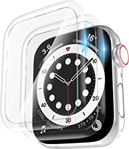 [2 Pack] Tempered Glass Screen Protector 40mm Compatible for Apple Watch Series 6/SE/5/4, EWUONU Full Coverage Waterproof 3D Curved Edge Anti-Scratch Bubble Free HD Clear Screen Film for iWatch Accessories(40mm)