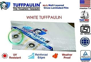 TUFFPAULIN Tarpaulin Waterproof UV Treated 100% Virgin Quality IS14611:2016 Approved (Milky White) (15FTX12FT, White) 120 GSM