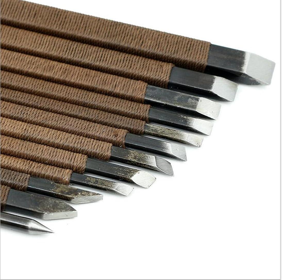NW 14pcs Manganese Wood Carving Tools Set Crafting Chisel Set with Canvas Bag