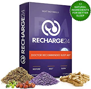RECHARGE24 PM Sleep Aid, 100% Natural Sleeping Pills with Melatonin and Valerian Root, Supports Stress Resiliency, Insomnia and Anxiety Relief, Combats Adrenal Fatigue: 30 Vegan Capsules