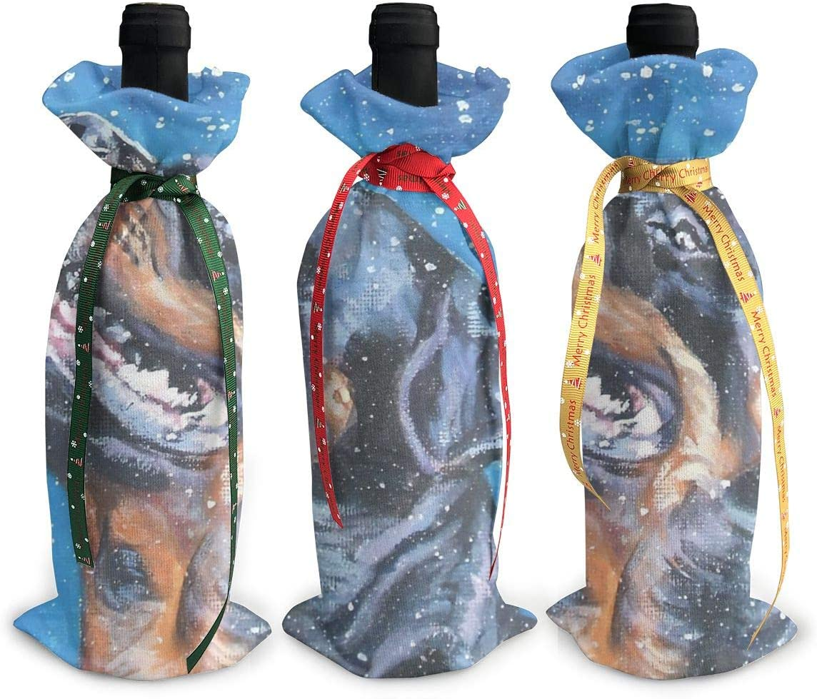 70% OFF Outlet Max 87% OFF Snow Blue Rottweiler Cute Dog Wine Christmas Red Xmas Charm3Pcs