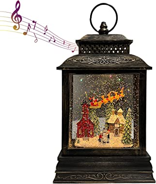 GOOSH Lighted Christmas Snow Globe Lantern Santa Rocking Chair Over The Town in Musical Decoration Gift with Battery Operated