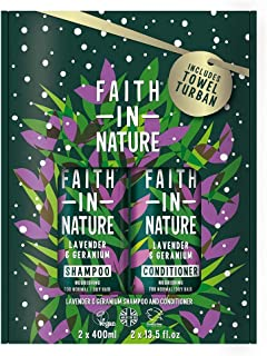 Faith In Nature Lavender & Geranium Shampoo and Conditioner Duo Gift Set 2 x 400ml. Moisturises, Hydrates and Conditions Hair, Includes Towel Turban.