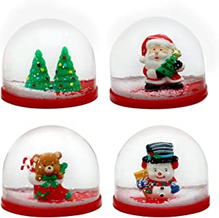 The Twiddlers 4 Mini Christmas Winter Snow Globes - 4 Assorted Xmas Designs - Perfect for Parties Bag Favors, Stocking Fillers, Pinata Stuffers, Christmas Party and Prizes