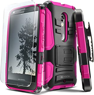 Droid MAXX 2 Case, Evocel [Generation Series] Belt Clip Holster, Kickstand, HD Screen Protector, Dual Layer for Droid MAXX 2 (Model No XT1565) / Moto X Play (2015 Release), Pink