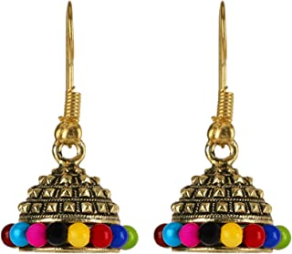 Bodha Traditional Indian Small Size Daily wear Traditional Layered Gold Plated Jhumka Earrings for Women & Girls (SJ_1661)